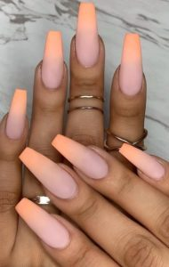 pastel peach ombre acrylic nails