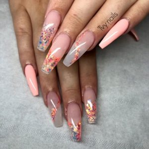 peach pink nails and gems