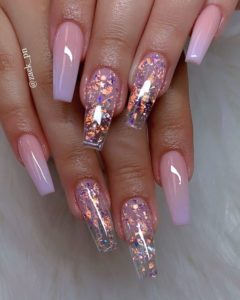 pink crystals acrylic nails
