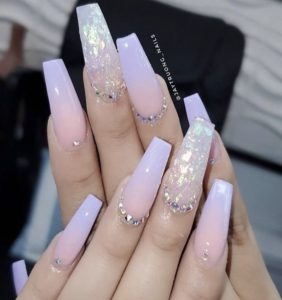 pink foil nails with gems