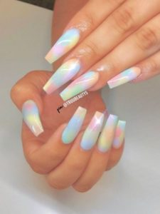 rainbow acrylic coffin nails