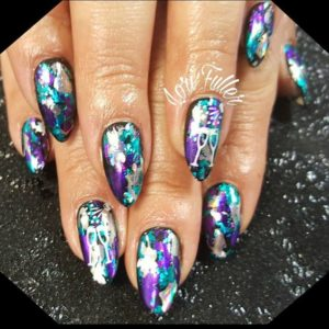 Vibrant colour nail foil and champagne glasses