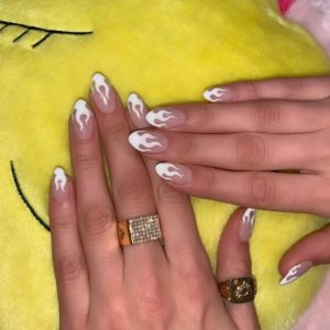 White flame nail art