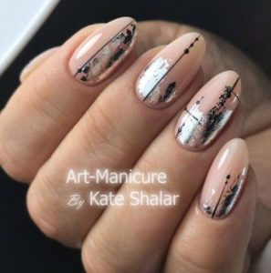 Silver nail foil on nude nails and line in middle of nail