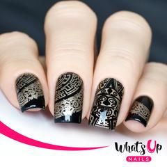 aztec pattern foil on black nails