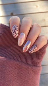 Leopard print nail art and nail foil