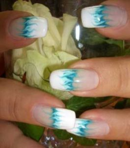 Waves nail design at the bottom of french manicure