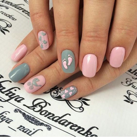 baby shower nail designs
