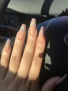 nude iridescent tips