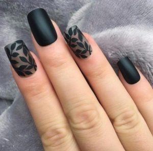 matte leaves pattern on accent nails