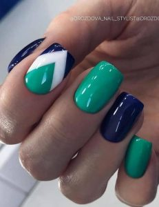 Chevron effects with green and blue