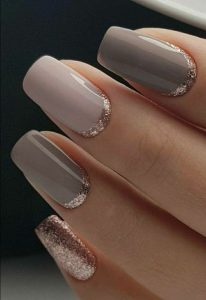 Grey nails with Rose gold edges
