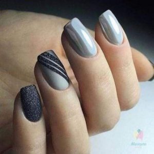 Dark grey nail foil to create diagonal lines on accent nail