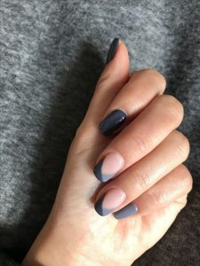 two shades of grey for a french manicure