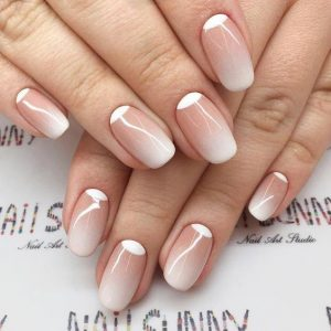 Nude ombre with white Nail Beds