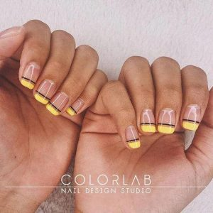 yellow French manicure with black edges