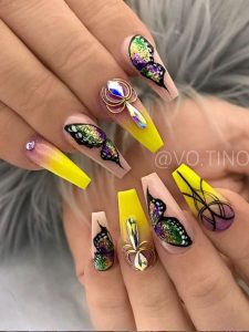 half butterfly nail art on accent nails