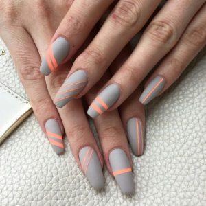 Grey Peach Acrylic Nails