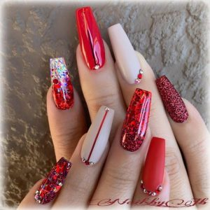 Nude and Red Glitter Nails