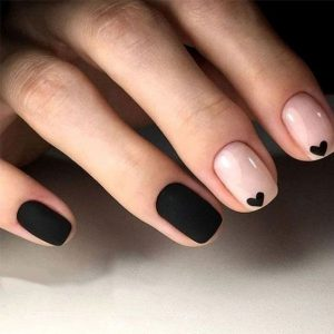 small hearts black on nude