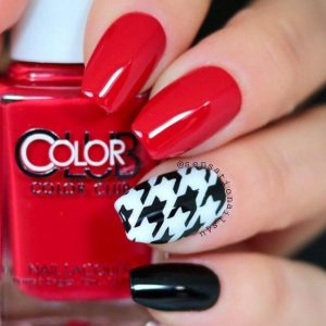 red with houndstooth