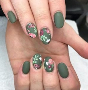 olive green with floral