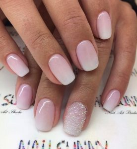 pink white ombre squoval nails