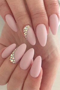 pink nude rhinestone touch