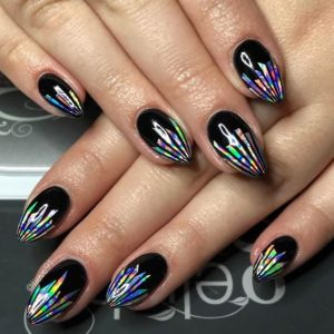hologram stripe black stiletto