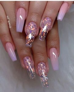 clear acrylics pink flakes