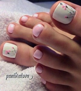white pink flower toes