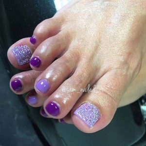 shades of purple glitter toes