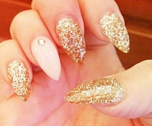 glitter stiletto nude