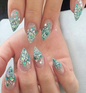 glitter tips stilettos