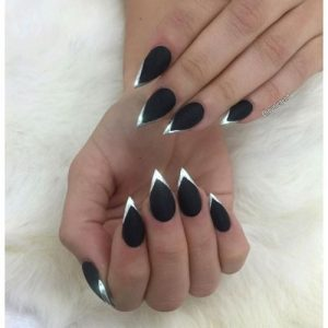 chrome tips matte stiletto