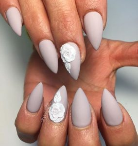 grey white flower stiletto