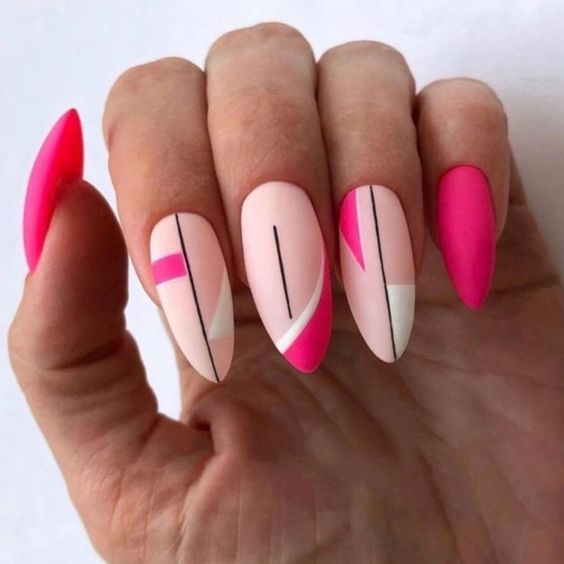 hot pink with white and black design