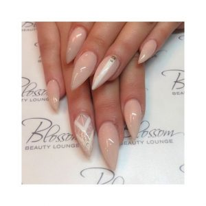 stiletto nude white stripe