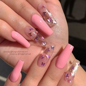 clear glitter and pink
