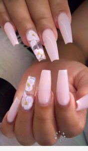 white clear flower pink