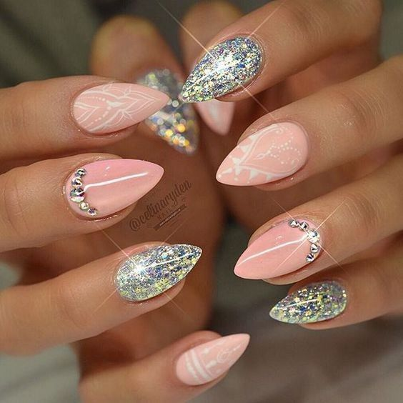 pink white glitter stiletto
