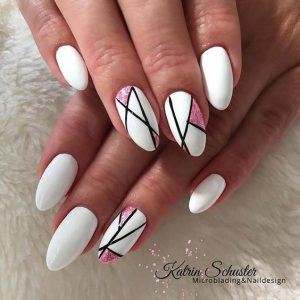 stripes on white with glitter pink