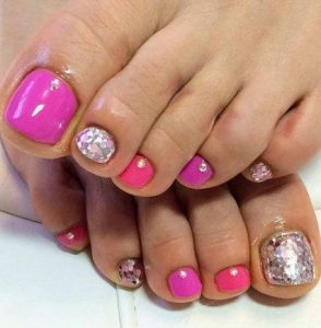 purple pink glam toes