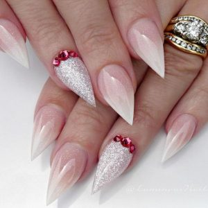 clear glitter red stone stiletto