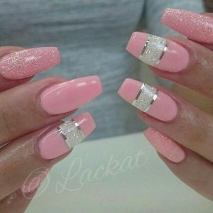 pink striped with white glitter