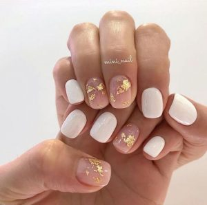 clear gold nails with white
