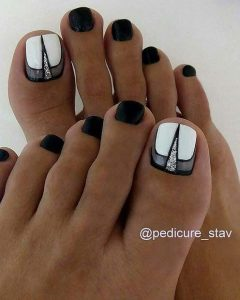 edgy black white toes