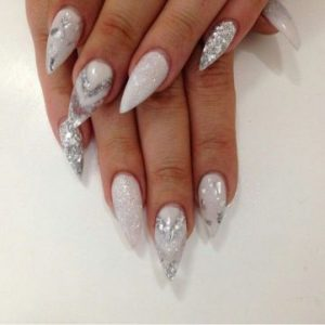 silver abstract glitter design on white