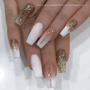 nude glitter gold striping