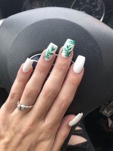white with green design